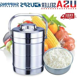 Stainless Steel Vacuum Insulated Lunch Box 2 Tier Hot Thermo