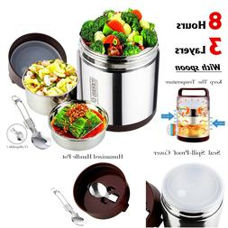 Stainless Steel Vacuum Insulated Lunch Box Jar Cold Hot Ther