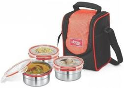 Milton Steel Meal 3 Tall Leak Proof Lunch Box With Stainless