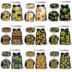 Sunflower Girls Backpack Lunch Box Pencil Bag Travel Rucksac