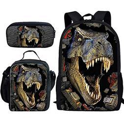 HUGS IDEA T-rex Dinosaur Backpack Teen Boys School Book bag