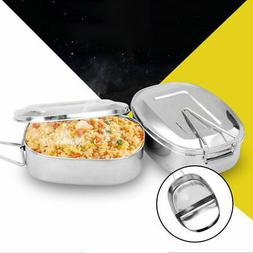 US Double Layer Stainless Metal Lunch Box Case Bento Food Co