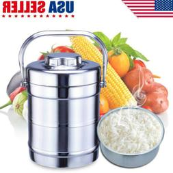 Vacuum Insulated Lunch Box 2 Tier Jar Hot Thermos Food Conta