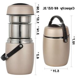 Vacuum Insulated Lunch Box 3 Tier Jar Hot Thermos Food Conta