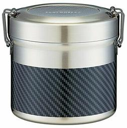 Vacuum Stainless Steel Lunch Box Carbon Tone Skater 840ml La