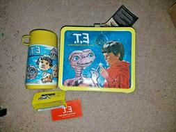 Vintage 1982 Aladdin E.T. Movie metal lunch box with thermos