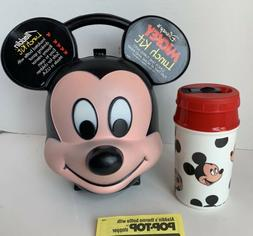 Vintage Disney Aladdin Mickey Mouse Head Lunch Box+Thermos H