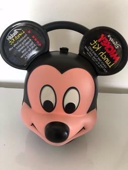 Vintage Mickey Mouse Plastic Head Lunch Box with Thermos