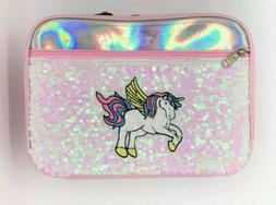 Women Girl's Insulated Unicorn Pink Lunch Bag Flip Sequin Ha
